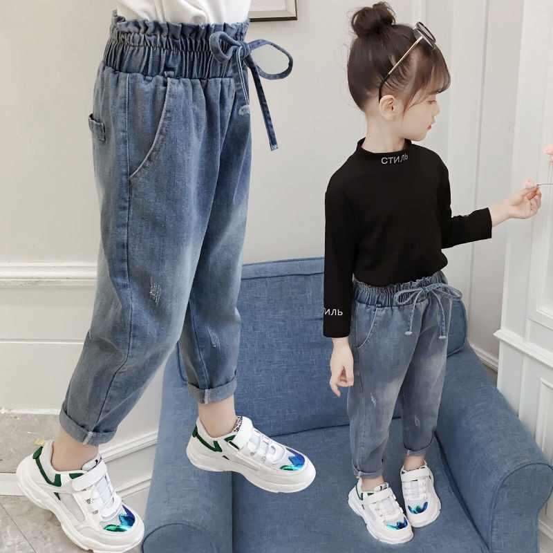 2019 yeni yüksek kaliteli kızlar kot pantolon bahar Denim kot çocuk giyim çocuk pantolon günlük pantolon kot kız elbise