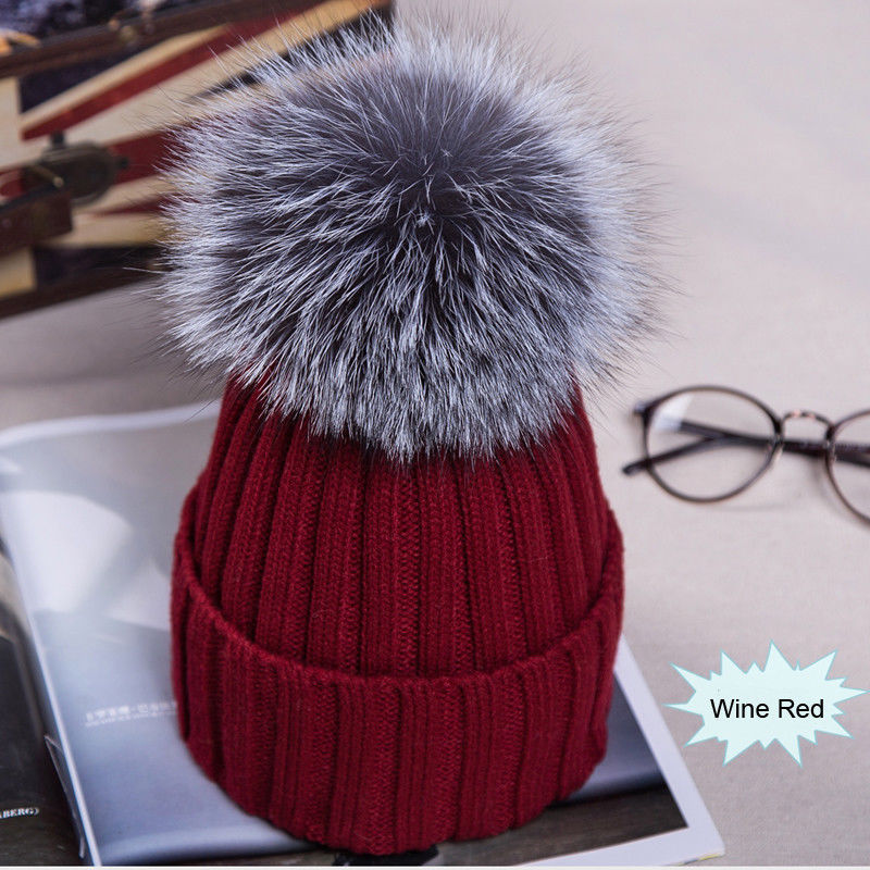Winter Hat Cap New Women Pom Pom Beanies Warm Knitted Bobble Girl Fur Pompom Hats Real Raccoon Fur Pompon Casual Hat Cap