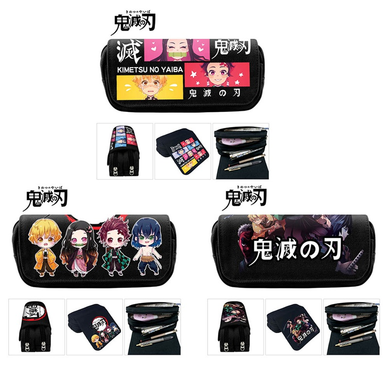 Anime Demon Slayer Ghost Blade Cartoon Print Pen Bag Student Pencil Case Teenage Boy GirlStorage Bag Kids School Stationery