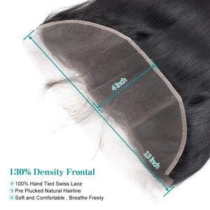 Image 5 - Fasci di capelli lisci brasiliani Allove con fasci di capelli umani frontali al 100% con chiusura capelli Non Remy 3 fasci con chiusura
