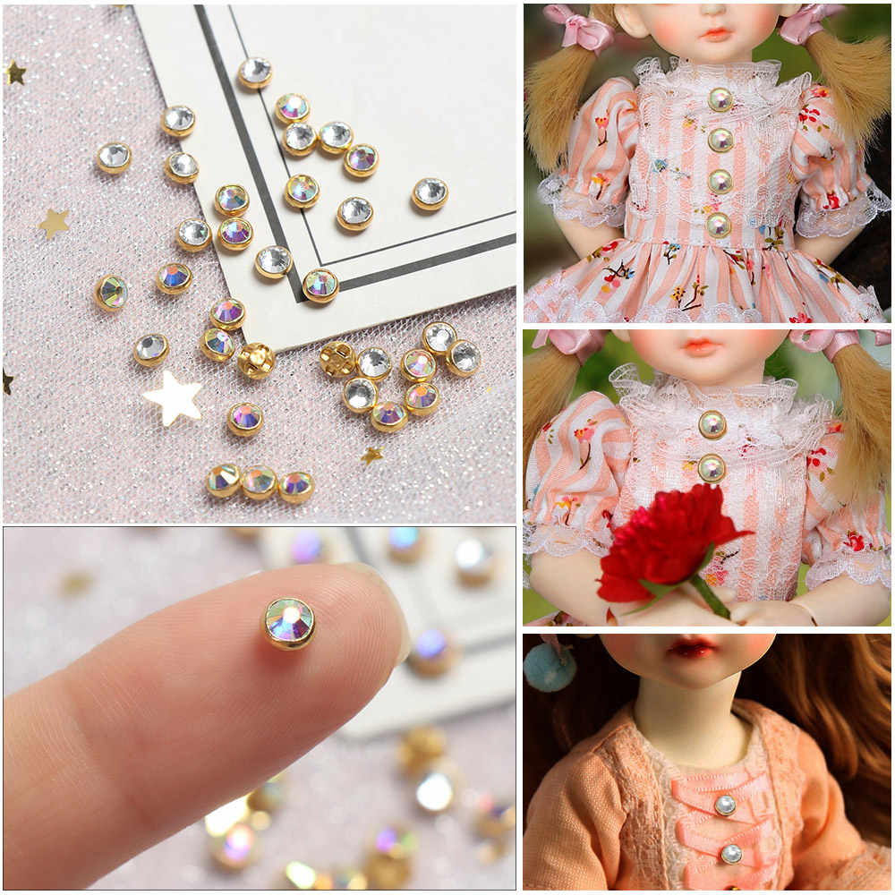 20/40pcs 4mm Mini Doll Buttons Ultra-small Diamond Buckle Doll Belt DIY Bags Shoes  Buckles 1/6 Doll Clothing Crafts Accessories