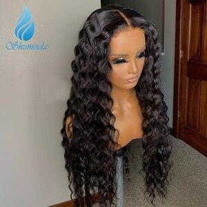 Image 3 - Shumeida indiano onda profunda perucas da parte dianteira do laço pré arrancadas perucas do cabelo humano do virgin do cabelo do bebê #2 perucas frontais do laço da cor nós descorados