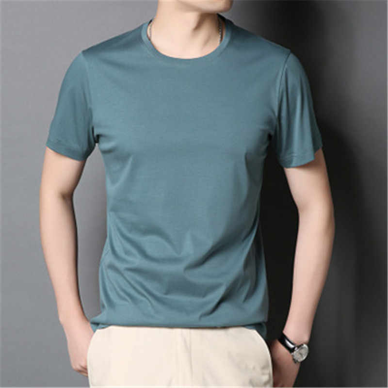 2019 new men's solid color cotton Slim short-sleeved t-shirt   aay40