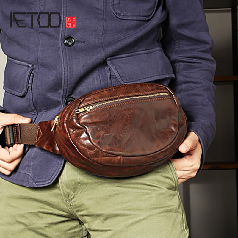 AETOO Handmade men's waistbags, retro do old folds leather large-capacity small bags, casual men's chest bags