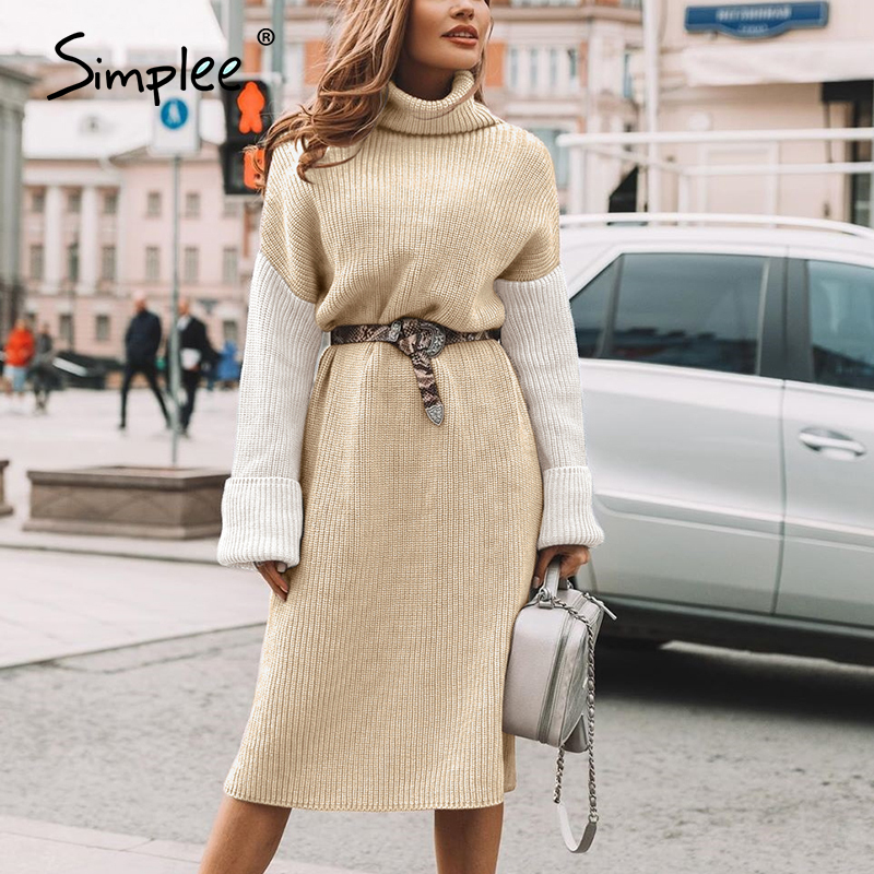 Simplee high fashion patchwork dresses women casual turtle winter 2020 knitwear dress long knitted sweater dress vestidos