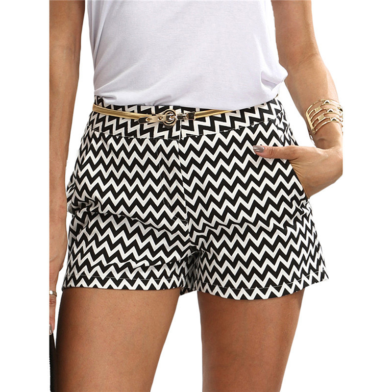 GAOKE New Fashion Plaid Shorts Woman Shorts Summer Black And White Mid Waist Casual Pocket Straight Shorts Hot Sale