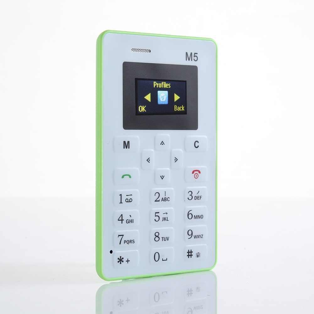 Aiek M5 tarjeta teléfono móvil Mini bolsillo estudiantes personalidad Ultra delgado teléfono Bluetooth marcador Celular