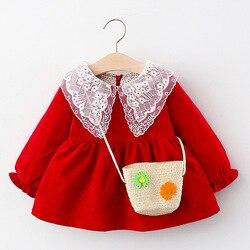 Весенняя одежда для маленьких девочек, длинные рукава, платье, костюм для детей ясельного возраста, одежда для маленьких девочек 1 год на ден...