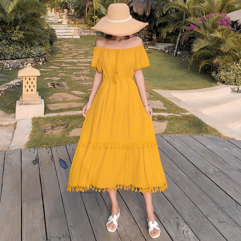 Photo Shoot New Style Vacation Style Off-Shoulder Horizontal Neck Tassels Edge Yellow Large Hem Bali Beach One-piece Dress