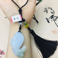 Natural Burmese Emerald Jade Carving Two Color Fish Pendant with Hand knitted Tassel Necklace Men's Women's Sweater Chain