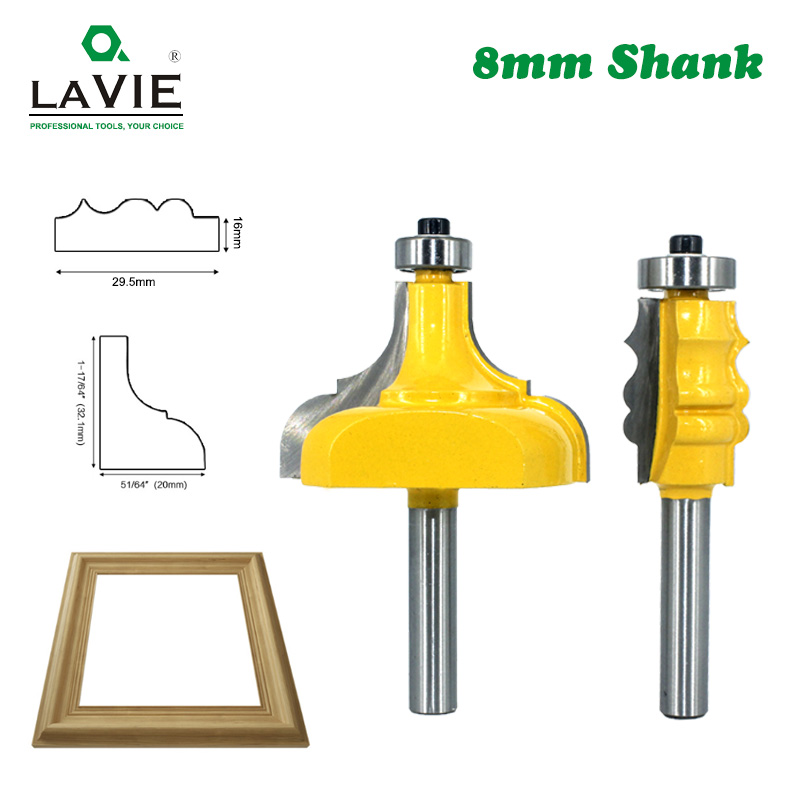 LAVIE 8mm Shank Picture Frame Router Bits Tenon Tungsten Carbide Line Bit Woodworking Milling Cutter For Wood MC02188
