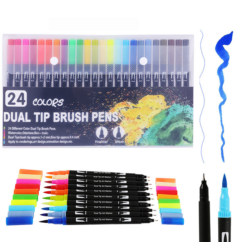 24PCS Colors Fine Liner Drawing Painting Watercolor Markers Pen Art Dual Tip Brush Pen School Supplies Stationery 04350|Art Markers| |  - title=
