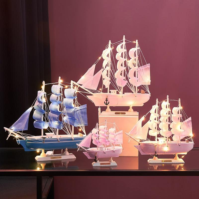 Vintage Home Decor Zeilboot Beeldjes Mediterrean Stijl Smeedijzeren Schip Home Office Desktop Miniatuur Marine Zeilen Boten