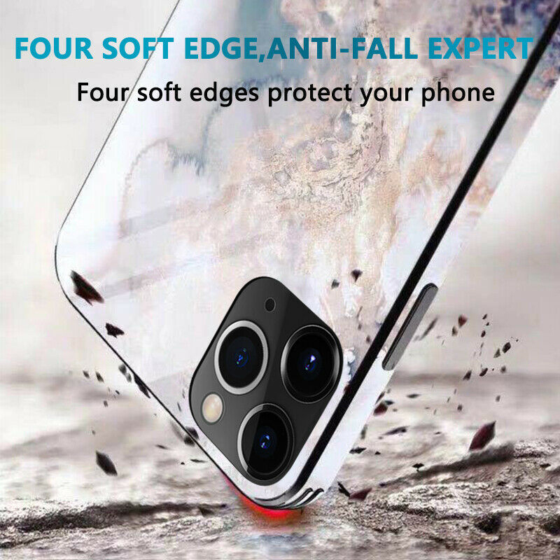 Luxury Marble Glass Waterproof Phone Case for iPhone 12 Pro