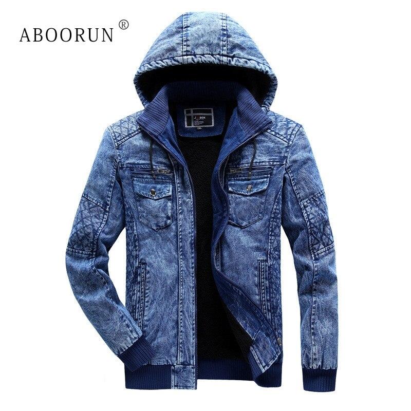 ABOORUN Men's Winter Denim Jackets Blue Fleece Hooded Jeans Jacket Brand Casual Cotton Coat For Male