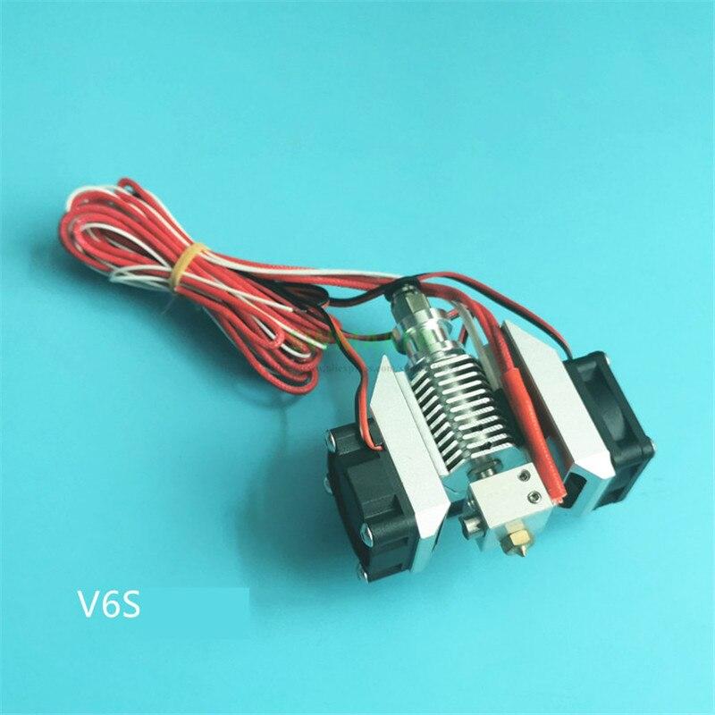 Nouvelles pièces d'imprimante 3D E3D V5 V6 tête d'impression en métal hotend kit complet avec nouveau conduit de ventilateur de conception et ventilateur de dissipateur de chaleur hexagonal V5s V6s