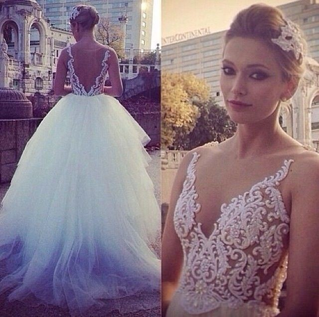 White Tulle Sleeveless Appliques Vestido De Noiva Casamento Embroidered Romantic Long Wedding Bridal Gowns Mother Of Bride Dress