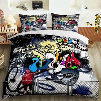 Bed cover set bedding sets duvet Hip-hop graffiti 3D duvet cover bed bed set duvet 3d bedding set bedding sets duvet cover mxdfafa anime pokemon duvet cover set 3d bedding sets luxury duvet cover sets include 1 duvet cover and 2 dakimakura case