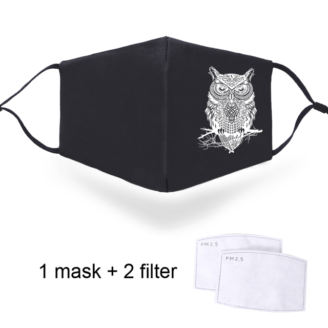 Owl Animal Print Masks PM2.5 Activated Carbon Filter Paper Mouth Muffles Windproof Face Mask High Quality Windproof Soft Mask