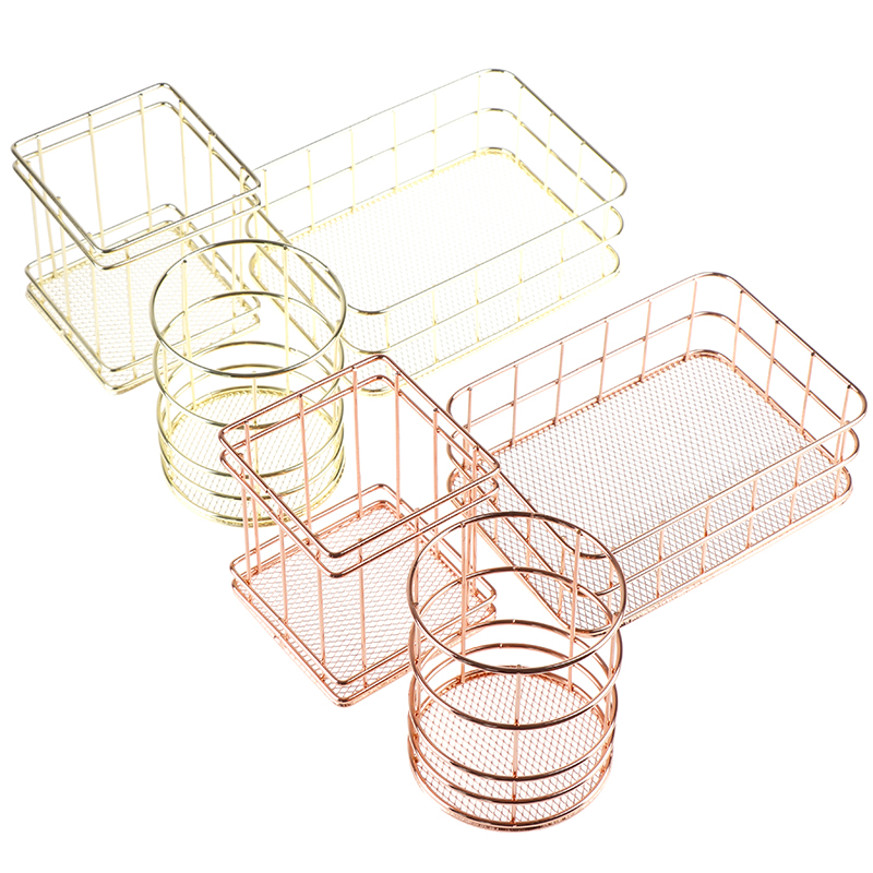 Rose Gold Iron Makeup Organizer Basket Eyeliner Brush Set Storage Cup Dressing Table Makeup Cosmetic Organizer Box High Quality