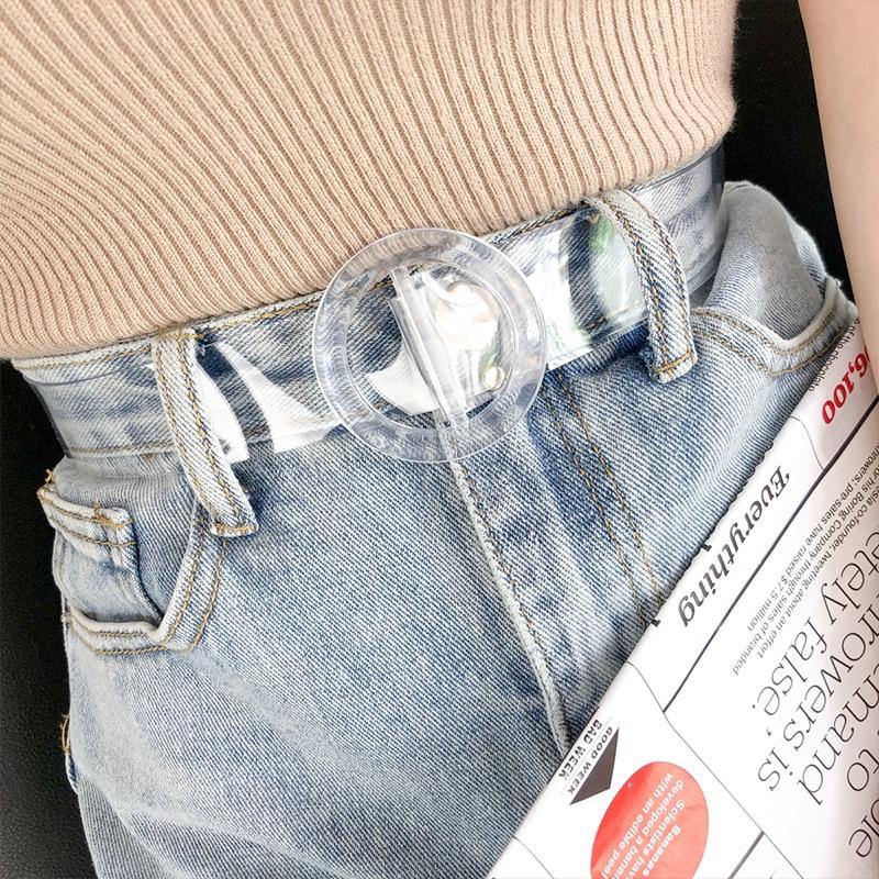 Non-hole Full Transparent Belt Ladies Simple Korean Heart Metal Buckle Belts Fashion Jeans Waistband Cinturon Mujer