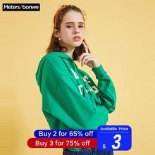 Metersbonwe, толстовки для женщин, с буквенным принтом, для девочек, уличная одежда, Повседневный свитер, новинка, хип-хоп толстовки, студенческие толстовки с капюшоном 720876