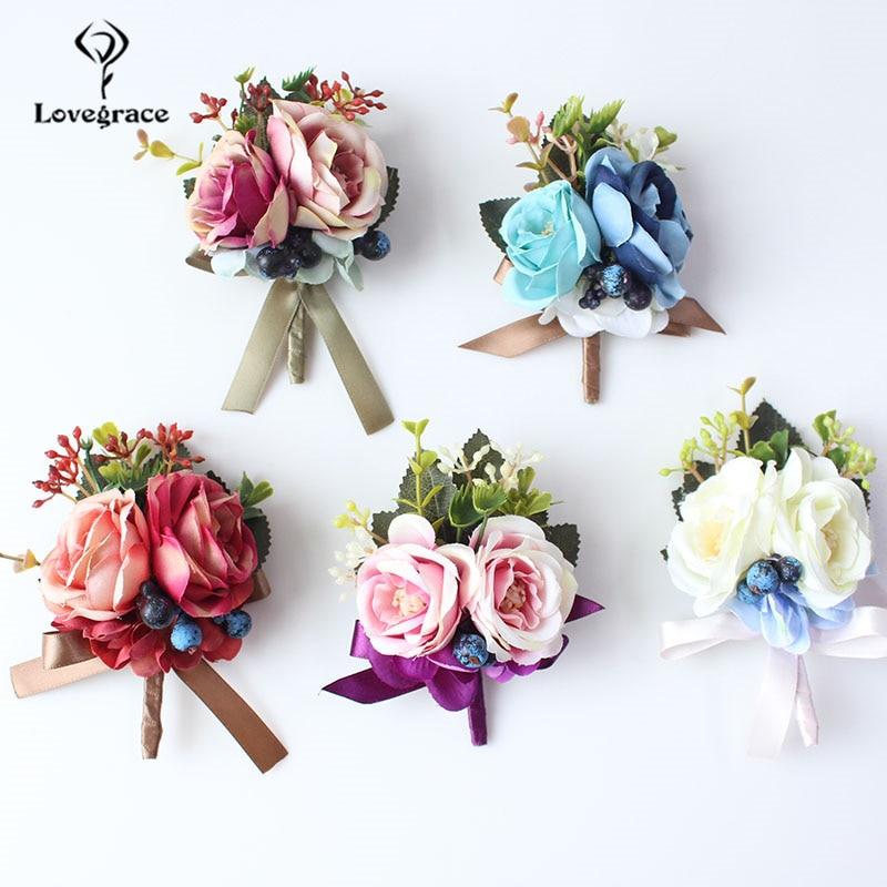 Lovegrace Corsage Groom Boutonniere Pin Bride Wrist Corsage Burgundy Blue Silk Rose Bracelet Men Prom Wedding Flower Accessories
