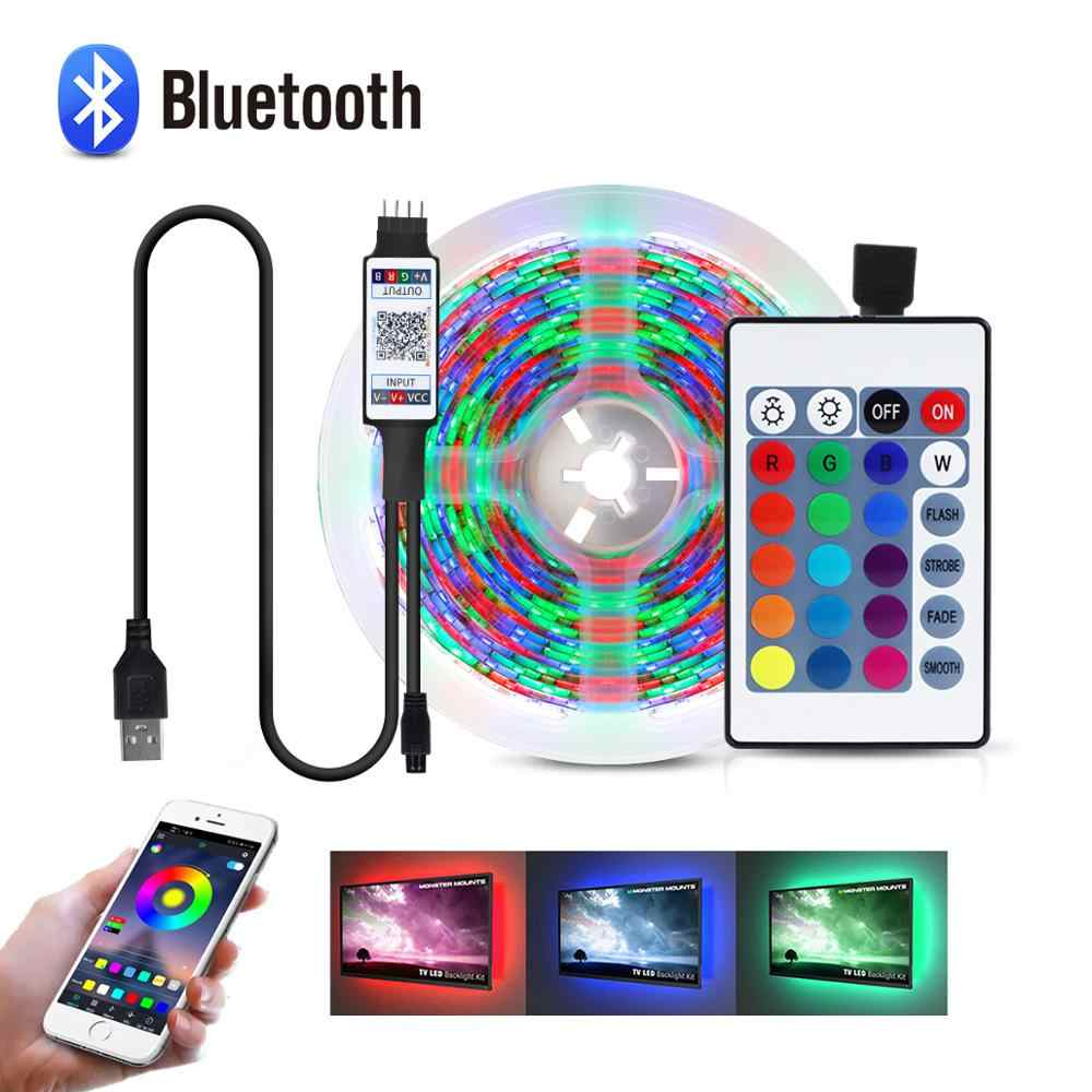 Bluetooth 1M-5M USB LED Lampu Strip 2835SMD Lampu LED RGB Tape TV Blacklight 5V LED lampu Strip