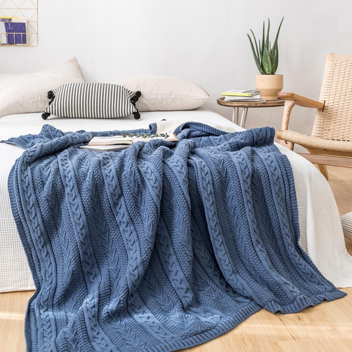 Couverture de laine tricotée avec des couvertures de couverture d'hiver de chanvre de velours pour des lits