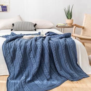 Knitted wool blanket with velvet hemp winter blanket blankets for beds fur blanket chunky knit blanket fleece blanket фото
