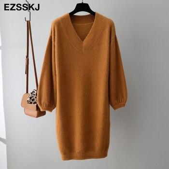 Γυναικείο Πλεκτό Φόρεμα με v λαιμόκοψη midi Χειμώνας Ζεστό Απαλό