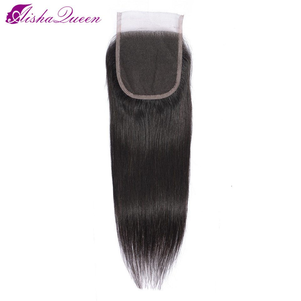 Cabello Queen de Aisha, cabello liso brasileño, cierre libre/Medio/tres partes, cierre de encaje suizo, Color Natural, cabello no Remy