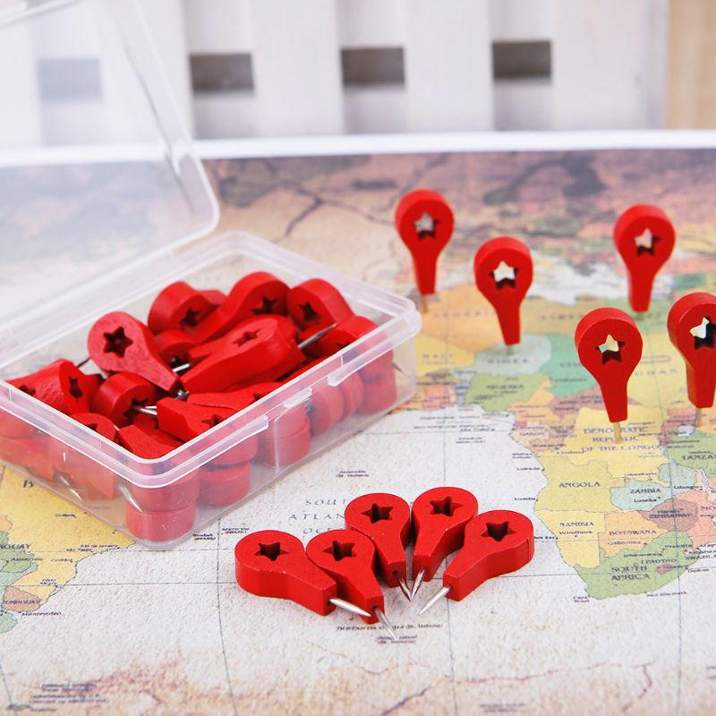 40 Pcs Map Markers Wooden Drawing Photo Wall Studs Cork Board Pins Thumbtack Pushpins Painting Tool M5TB