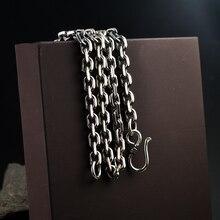 Настоящее Серебро S925 чистое серебро, классическая круглая цепочка на шею для мужчин, мужское ожерелье из стерлингового серебра 925 пробы, Женская цепочка из тайского серебра