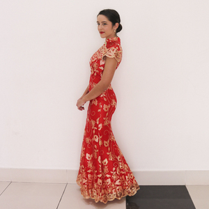 Image 5 - Red Chinese Wedding Dress Female Long Short Sleeve Cheongsam Gold Slim Chinese Traditional Dress Women Qipao for Wedding Party