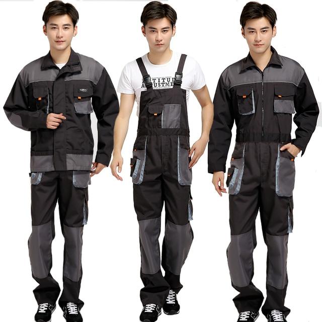 סינר סרבל גברים עבודת סרבל מגן טכנאי רצועת סרבלי מכנסיים עבודה מדים בתוספת גודל 4XL שרוולים סרבל
