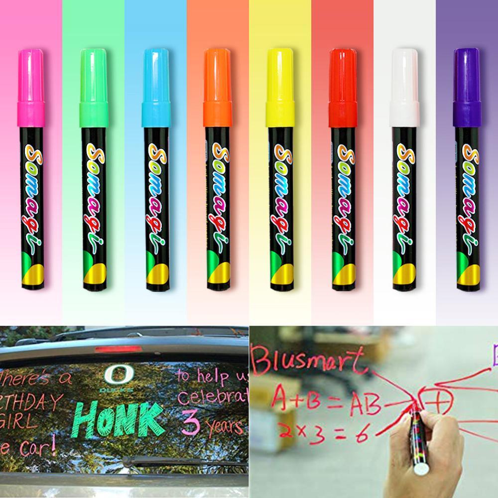 8 Colors Erasable Highlighter Fluorescent Marker Pen Flash Color Pen Environmental Protection Dust Free Liquid Chalk Lamp Pen