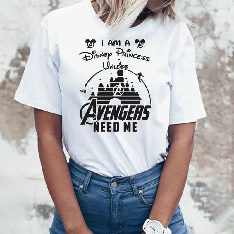 Marvel Avengers Endgame T Shirt Women Heroes Superheroes Marvel Comics Captain America Thanos Vacation T-shirt Kawaii Mickey