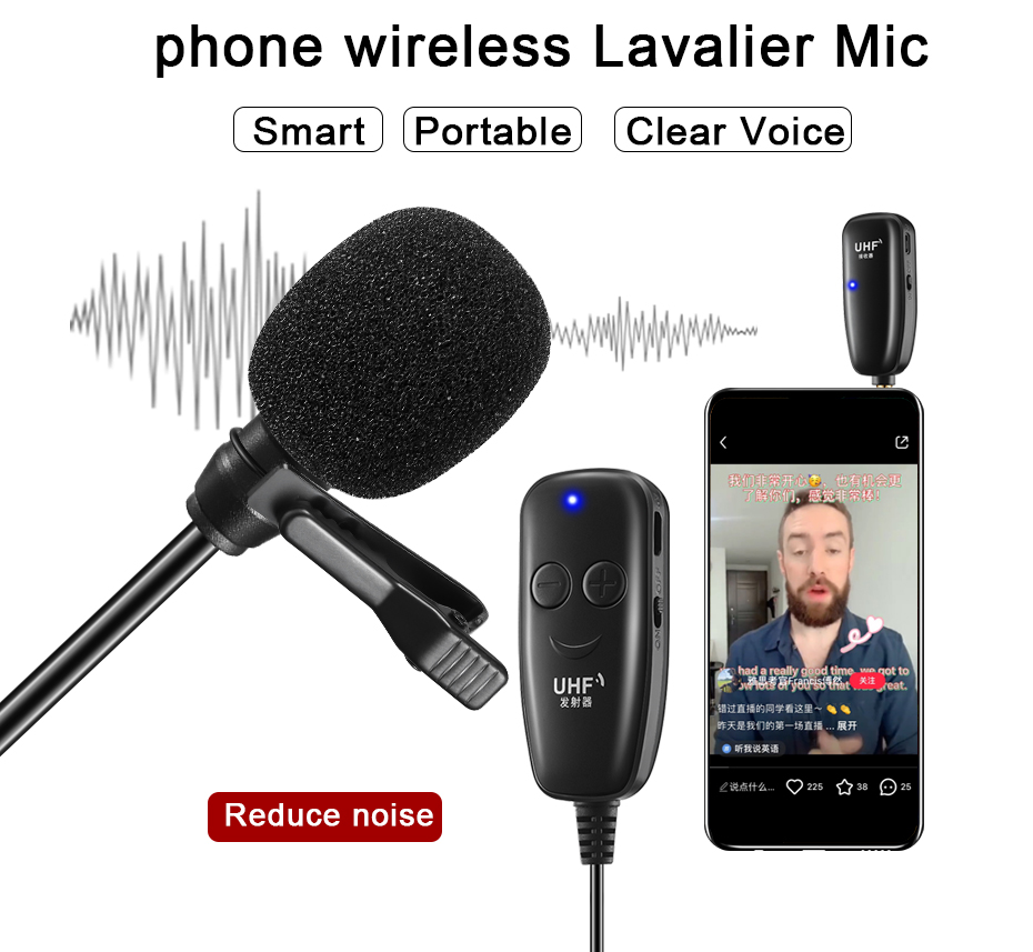 UHF Wireless Lavalier Microphone Lavalier Lapel Interview Voice Recording Mic for iPhone Android Phone iPad DSLR PC Microphone