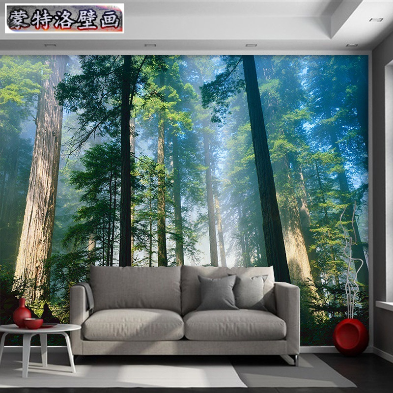 Simple Woods Scenery Wallpaper Living Room Television Wallpaper Bedroom Sofa Film And Television Wall Cloth Seamless Non-woven M