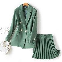 Женские комплекты, шикарный Одноцветный Блейзер на одной пуговице, высокая талия, плиссированная юбка, комплект из двух предметов, модные женские комплекты из 2 предметов с юбкой