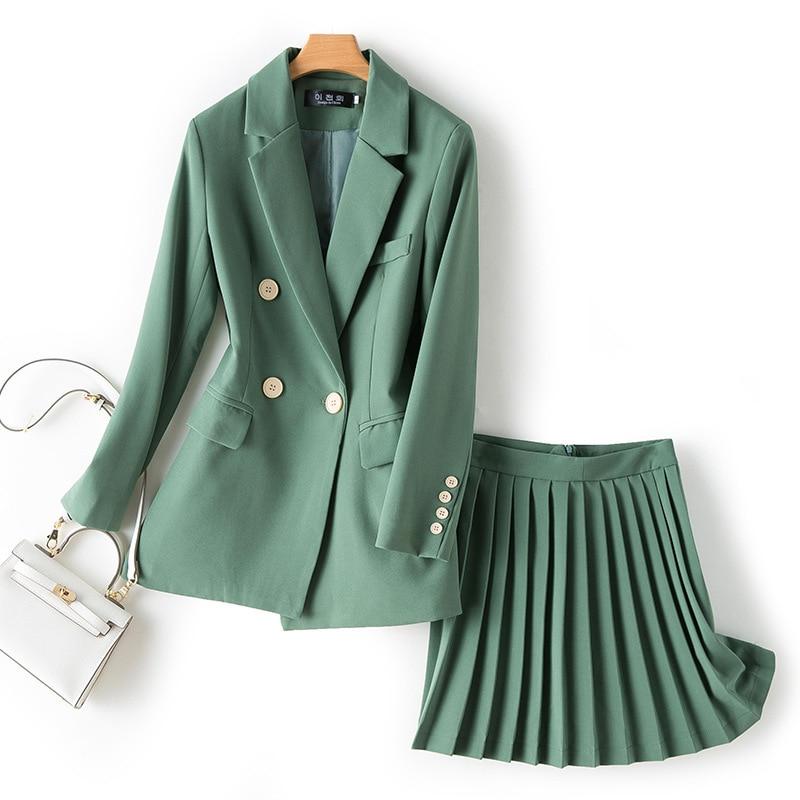 Women's Sets Chic Single Button Solid Blazer High Waist Pleated Skirt Two Piece Set Fashion Women 2 Piece Skirt Sets