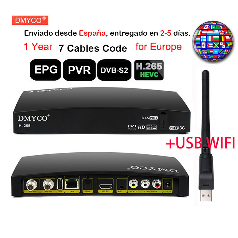 DMYCO D4S Pro Satellite Receiver Full HD DVB-S2 Satellite Receptor Free 1-Year Europe 7 Cable Lines With Usb Wif Openbox Decoder
