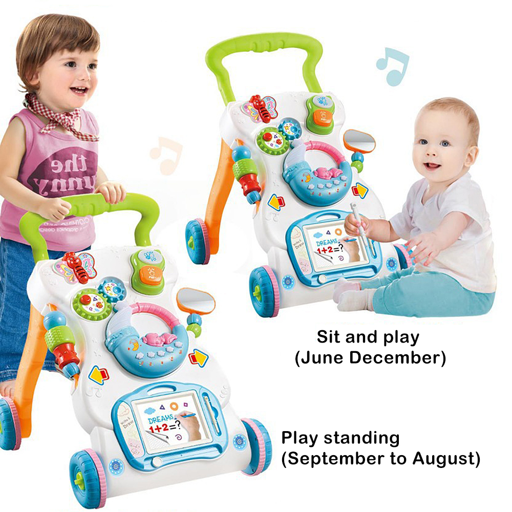 Baby Walker Toddler Trolley Sit-to-Stand Musical Walker With Adjustable Height To Exercise Hearing Learn Walk Scientifically