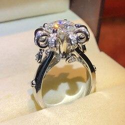 S925 стерлингового серебра с натуральным кольца с муассанитом для Для женщин Изысканные кольца, ювелирные изделия Anillos De Bizuteria Свадебные Коль...