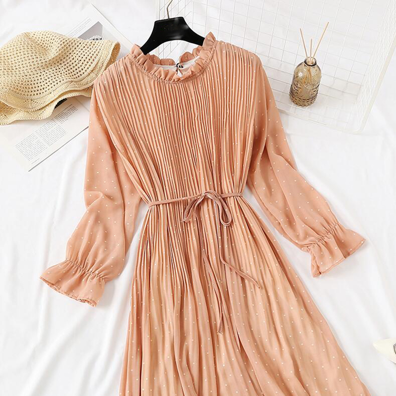 Women Print Pleated Chiffon Dress 2019 Spring Summer New Hot Fashion Female Casual Flare Sleeve Lotus leaf neck Basic Dresses 48