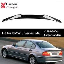Real Carbon Car Spoiler Gloss Black for BMW 3 Series E46 Sedan Fiber M4 Style Trunk Wings Styling 1998-2005