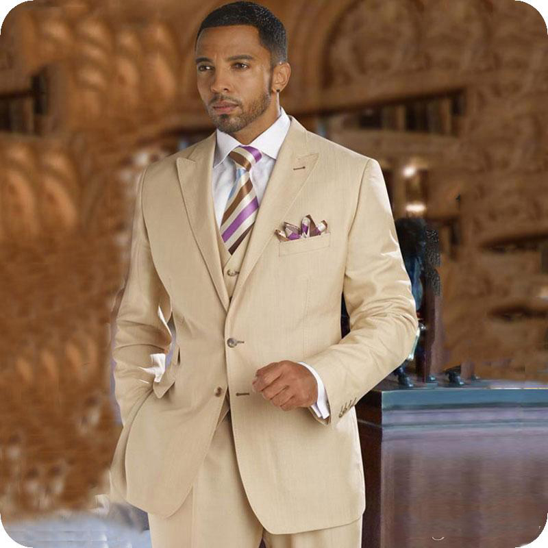 Custom Made Mans Suits For Wedding Groom Tuxedos Best Man Wear Dinner Suits Peaky Blinders Three Pieces Suits(Jacket+Pants+Vest)