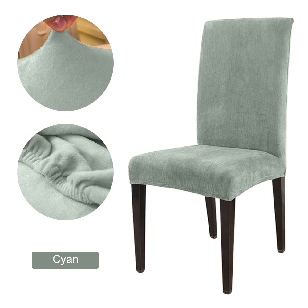 1 to 6 Pcs Removable Chair Cover Made with Stretchable Thick Plush Material for Banquet Chair 26