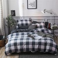 Grau Weiß Plaid Bettbezug Bett Blatt Und Kissenbezug Geometrische Druck Bettwäsche Set Einzigen Doppel Für Kinder Jungen Mann Bett leinen